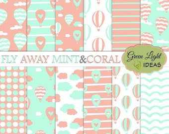 Hot Air Balloons Digital Paper, Mint and Coral Digital Papers, Kids Birthday Backgrounds, Commercial Use Patterns, Kids Baby Shower Papers