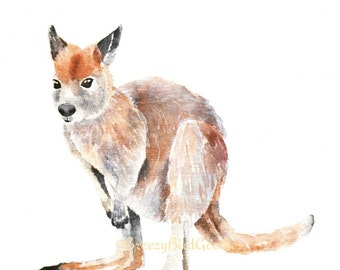 Wallaby Print, Watercolor Wallaby Print, Art for Home, Art for Office, Australian Animal Watercolor, Baby Animal Print, Cute Wallaby Art