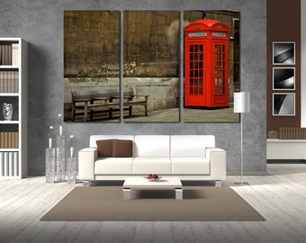 Large Wall Red Telephone Box Canvas Color Call-Box Color London  Multipanel Canvas London Art Large  1-3-4-5 Panel London Print