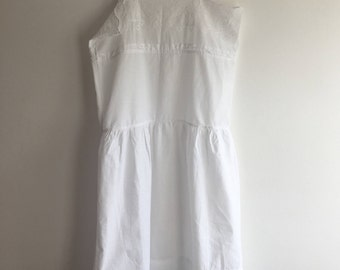 1920s Chemise / White Cotton / Broderie Anglaise / Drop waist / M