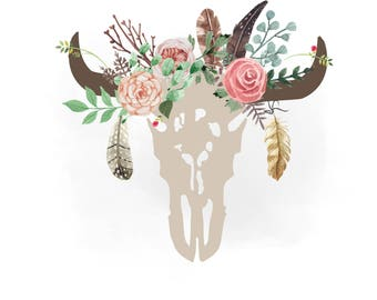 Gypsy cow skull svg clipart, Boho floral cow Skull Clipart, Texas, country, feathers SVG, Vector Svg Png Jpeg Eps Cricut & Silhouette