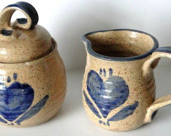 Sugar Bowl and Creamer Set, Vintage, Pottery, Kitchen and Dining
