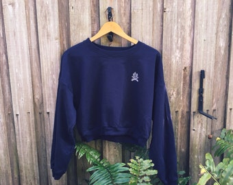 Fleece Blue Cropped Campfire Sweater One Size Fits Most