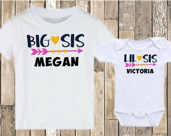 Big Sis Lil Sis Arrows - Personalized Shirts - Big Sister Little Sister Matching Shirt Set