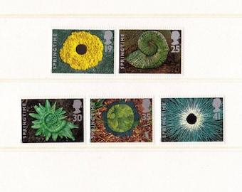 1995 Plant sculptures Mint Unused Vintage Postage Stamps set; springtime, flowers, leaves, natural art, abstract, nautilus, swirl, dandelion