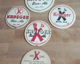 Lot of 5 Vintage Krueger Beer & Ale Coasters -Excellent Condition