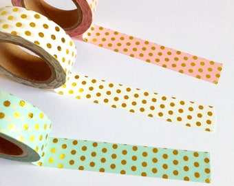 Gold Foil Polka Dot Washi Tape, polkadot masking tape, pretty decorative tape, scrapbook planner supplies, stationery gift idea, journaling