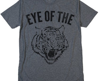 EYE Of The TIGER T Shirt Fighter Rocky Boxing Survivor Rising Up To The Challenge Motivation Inspiration Kicking Ass Comfy Crew V Neck Tee