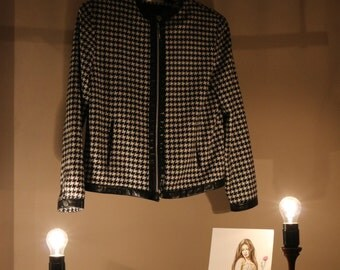 90's true vintage jacket ladies M Houndstooth hound's tooth check Chanel-style 50s horserace business classic lady