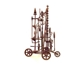Phil Rowe, metal sculpture, welded sculpture, sculpture, steampunk sculpture, found object sculpture, abstract sculpture, folk art sculpture