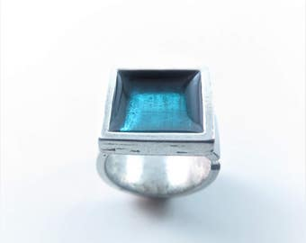 adjustable ring made in pewter and resin ,choice of colors,turquoise,purple,red,blue,black,scarlet,translucent,krolldesigns,gift