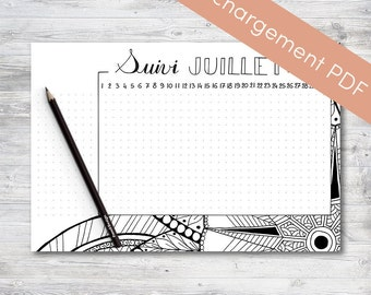 Habit Tracker Printable, July, Planner and Bullet Journal | Printable PDF