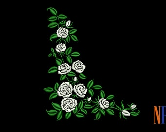 INSTANT DOWNLOAD - White roses pattern machine embroidery design. Flowers embroidery design. Beautiful white roses. Embroidery file