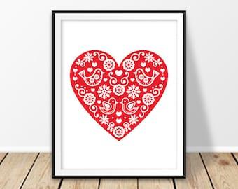 Baby girl wall decor, Love printable, Retro art, Floral wall print, Scandinavian nursery, Birds heart, Folk art heart, Red digital prints