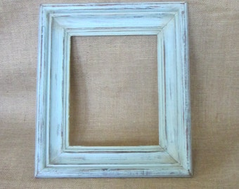 Distressed Vintage Turquoise Wood Picture Frame, 14x12 Shabby Frame