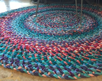 handmade rug round rug braided rug custom made rug boho