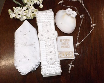 White christening candle/Baptism candle Set in white
