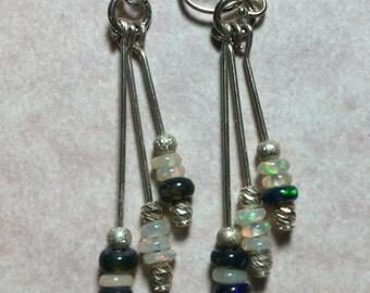 Dangle Earrings - Sterling Silver, Pearl & Opals