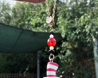 Car Rearview Mirror Decor Beaded Dr. Seuss with adjustable gold colored chain and lobster clasp