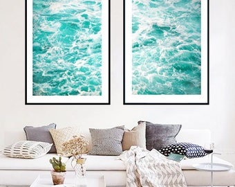 Ocean photography, nautical decor, waves abstract, ocean wall decor, large wall art print, blue decor, beach wall art, beach photo download