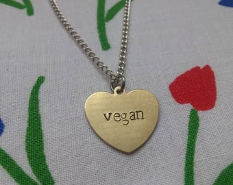 Vegan ~ Dainty Brass Gold Heart Shaped Pendant Necklace ~ Animal Rights, Activism, Awareness ~ Handmade Hand Stamped Jewellery Gift