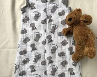 BIG Elephant cotton muslin sleepsack