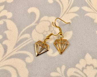 Gold Geometric Diamond Earrings