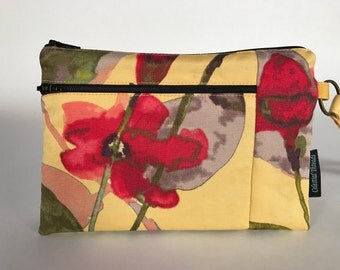 Yellow Floral Wristlet Wallet, iPhone Wristlet, Cell Phone Purse, 3 Zipper Wallet, Fabric clutch, Gift for Her