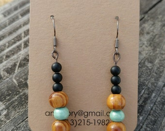 Mixed Media Wood Dangle Earring
