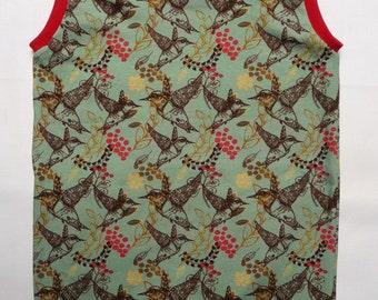 Girls dresses with birds, cherry red, mint green, spring, summer, birds, Gr. 74-134,Baumwolle,praktisch