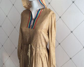 1970's Disco Diva Gold Lurex Hooded Party Dress