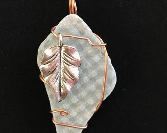 White, patterned beach glass leaf pendant #10