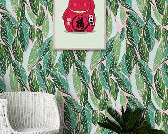Maneki Neko Lucky Cat Print - 11x17 PRINTABLE FILE - Basil Ice Cream Fat Bold Cat. Nursery Decor Mint Green Poster. Instant Download Prints.