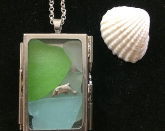 Sea glass necklace - seaglass necklace - sea glass jewelry - seaglass jewelry - beach glass jewelry - beach glass necklace - dolphin