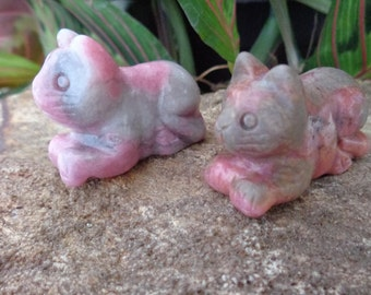 Rhodonite Cat - Hand Carved - Natural Stone