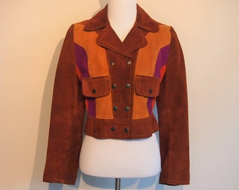 Vintage 1970's Suede Bomber Jacket; Brown Suede Jacket