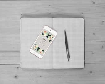 Monthly Calendar iPhone Wallpaper, April Digital Calendar, Cell Phone Background, Spring Floral Wallpaper, Instant Download