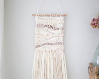 Neutral wall hanging \\ Weave \\ MTO \\ hand woven wall art \\ tapestry \\ white nursery decor \\ white home decor \\ white wall decor