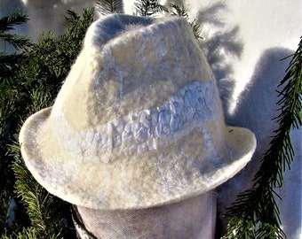 Felted white hat.