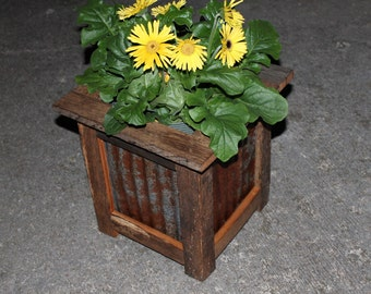 Reclaimed Barn Wood Planter with Corrugated Metal