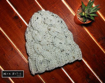 White Beanie Small - Hand-Knitted Hat - 100% Soft Acrylic Yarn