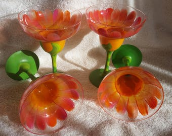 Hand Painted Glasses Floral Margarita glassware Set of four