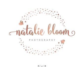 Rose Gold Confetti Logo, Heart Confetti Logo, Photography Logo, Sparkles Glitter Confetti Logo, Photography Branding, Gold Handwritten Logo