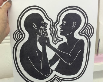A3 Bold Black Lino Relief Print Two Figures with Boarder