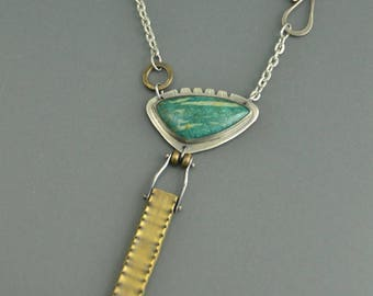 Amazonite Totem Necklace Brass Sterling silver mixed metal