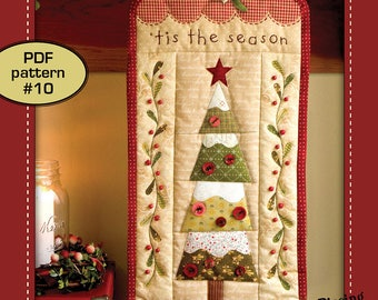 Tis the Season ( paper-piece appliqué christmas tree embroidery wallhanging quilt pattern )