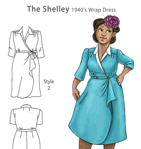 1940s Sewing Patterns – Dresses, Overalls, Lingerie etc The Shelley 1940s wrap dress NVL plus size multi size repro vintage sewing patterns $30.00 AT vintagedancer.com