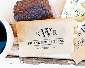 Coffee Favor - Monogram Coffee Bags - Wedding, anniversary, engagement party favors - Paper Coffee Wrap - 20 Kraft Wedding Favor Bags