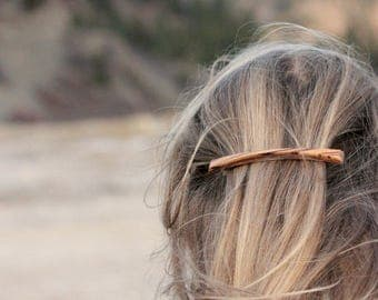 Plateau Barrette | Long Thin Barrette | long skinny wood hair clip | french barrette | zebrawood + walnut