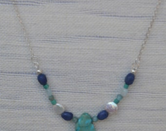Necklace with Lapis, Pearl & Howlite